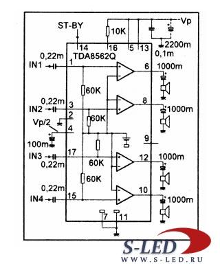 Микросхема УМЗЧ TDA8562Q
