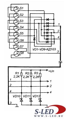 Схема индикатора положения
