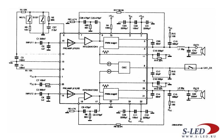 Микросхема УМЗЧ TDA7490
