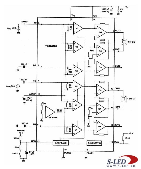 Двухканальный или четырехканальный мостовой усилитель мощности (в зависимости от схемы включения) с однополярным...