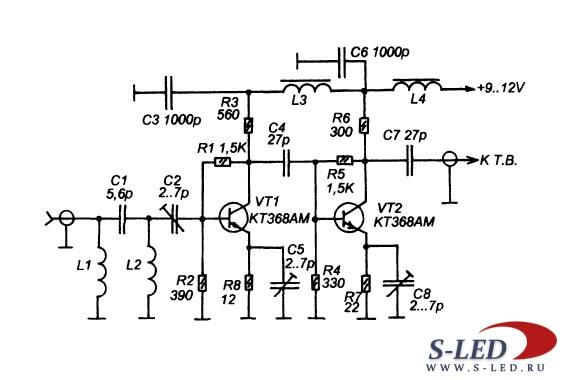 Схема усилителя ТВ антенны