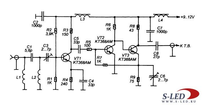 схема антенного усилителя,