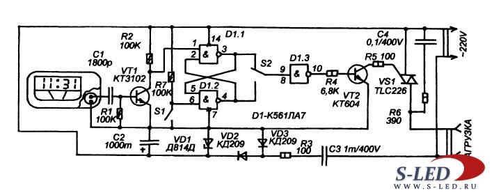 Схема таймера-выключателя