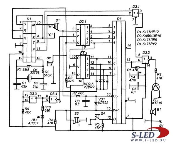 Схема таймера на К176РУ2
