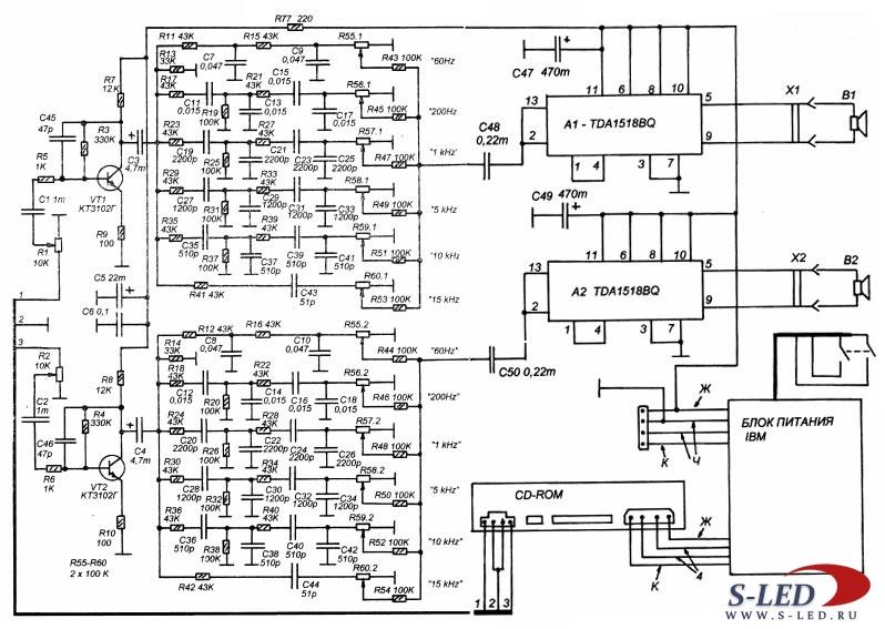 Схема усилителя мощности CD-