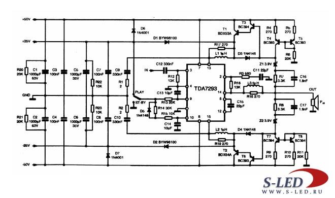 Микросхема УМЗЧ TDA7393
