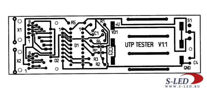 Схема кабельного тестера