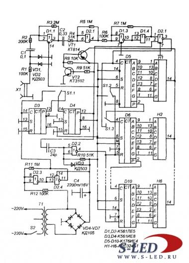 Частотомер построен по простой схеме с медленным измерением.  Он предназначен для измерения
