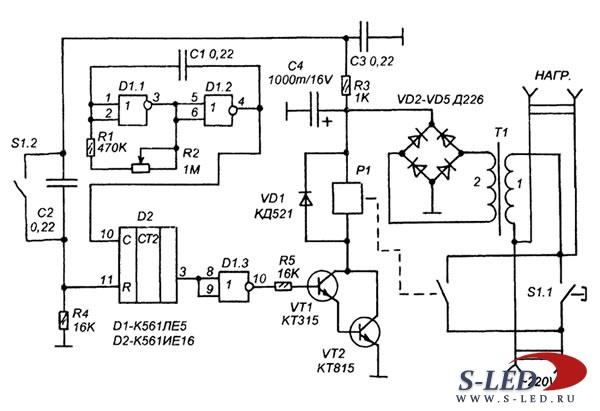 """Таймер-выключатель электроприбора с задержкой """" S-Led.Ru - Светодиоды и электронные схемы"""