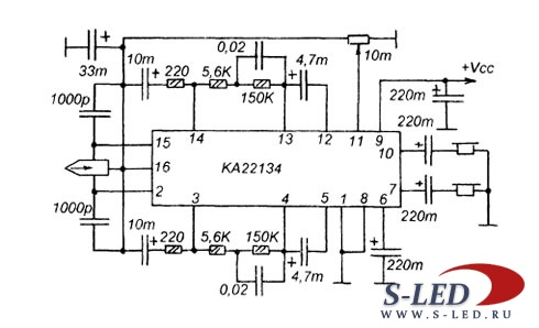 Микросхема УМЗЧ KA22134