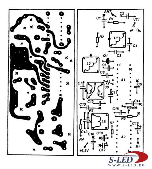 Переключатель коммутирует цепь питания +6... Рис. 3. Конструктивно приемник и передатчик смонтированы на двух...