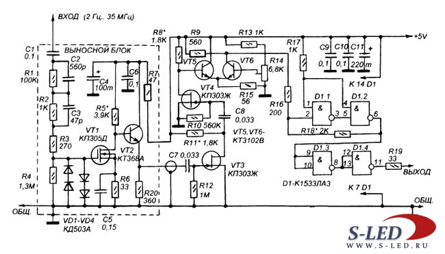 Простые схемы на схема простейшего частотомера выполненного всего на одной микросхеме Схема устройства приведена на...