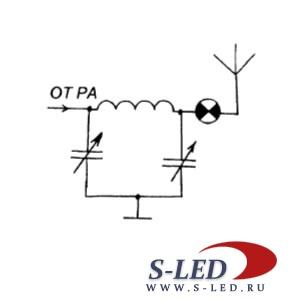 Лампа накаливания и светодиод в цепи антенны