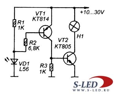 Простая схема прерывателя тока на светодиоде.
