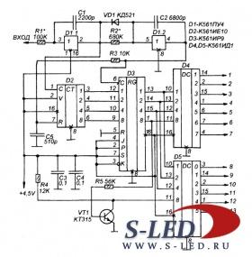 Схема декодера показана на рис.2. детектор импульсов выполнен на D1.1, он необходим для распознавания импульсов на...