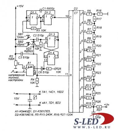 Схема сканирующего устройства УКВ-ЧМ приемника.