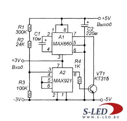 Схема преобразователя 3V / 5V
