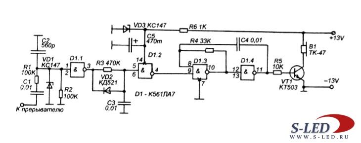 Схема сигнализатора оборотов