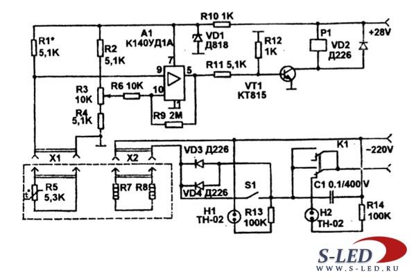 Схема устройства контроля и