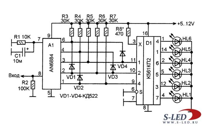 Схема индикатора на микросхеме