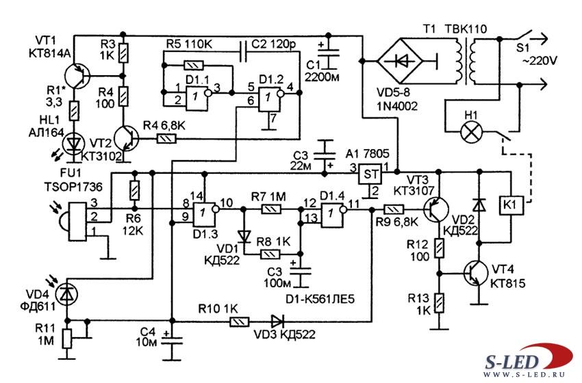 Схема выключателя освещения с
